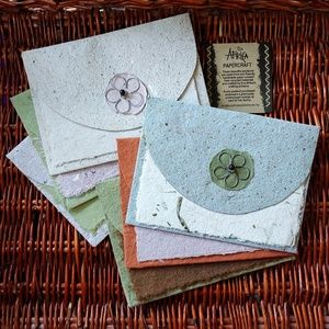 Six Handcrafted Recycled Paper Cards by Eco Africa